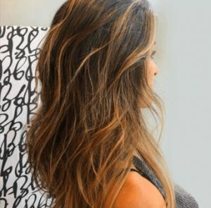 Balayage highlights in brown hair